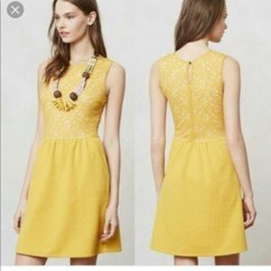 Anthropologie Maeve Yellow Fit & Flare Lace Dress
